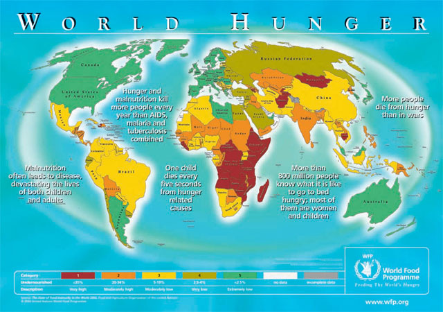 Map of the world showing distribution of malnutrition
